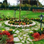 Amenajare gradina cu flori multicolore