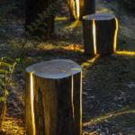 Sistem de iluminare din trunchi de copac