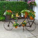 Suport flori terasa in forma de bicicleta