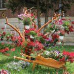 Suporturi de flori de gradina din lemn