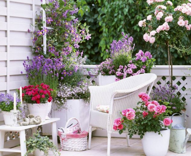 Balcon cu gradina cu flori