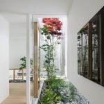 Gradina interioara cu arbori si pietre