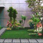 Gradina mica cu plante si gazon