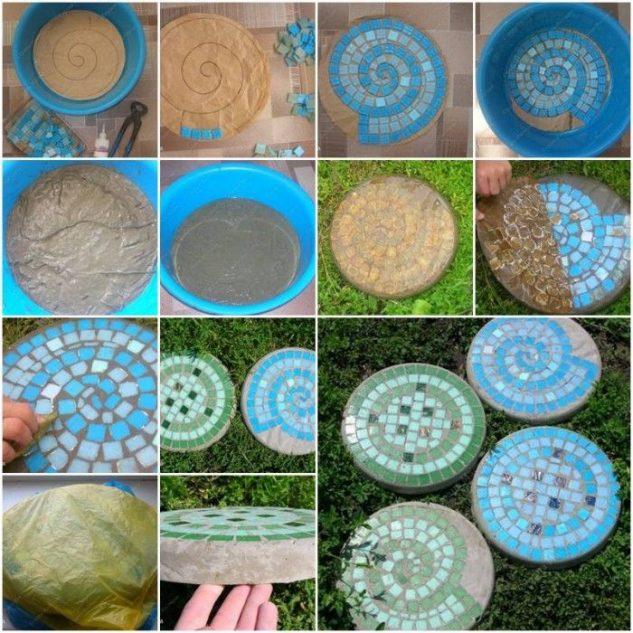 Mozaic albastru pentru alee