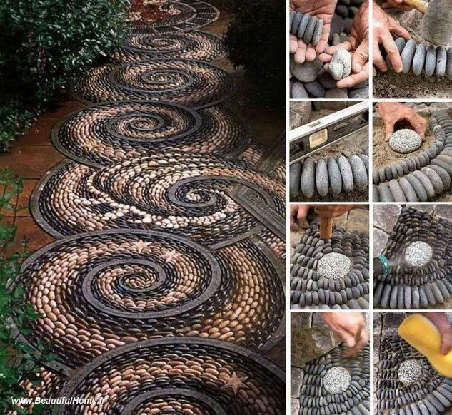 Mozaic in forma de spirala pentru alee