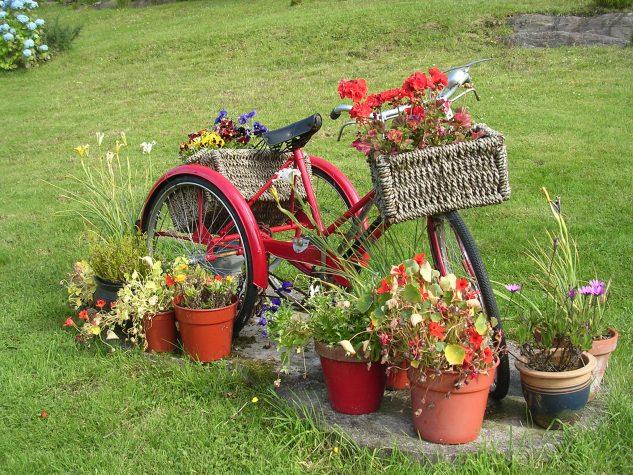 Ornament cu flori si bicicleta