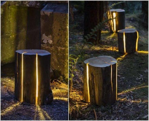 Sistem iluminare din trunchi de copac