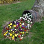 Vas de lemn varsat cu flori