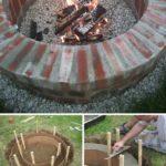 Amenajare foc de tabara rotund din caramizi