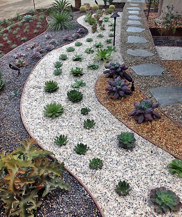 Decor gradina cu pietris si plante decorative