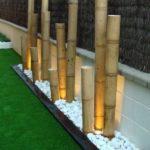 Decor terasa cu pietris alb si bambus