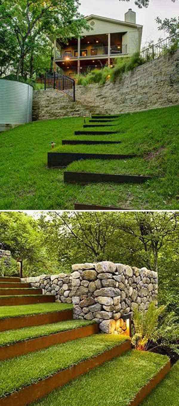Gradina cu scari acoperite cu iarba