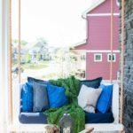 Leagan veranda cu perne colorate