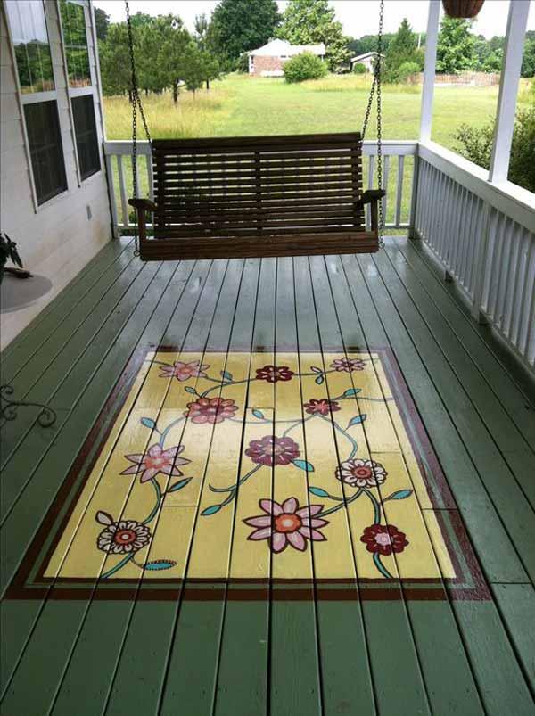 Podea veranda pictata cu flori