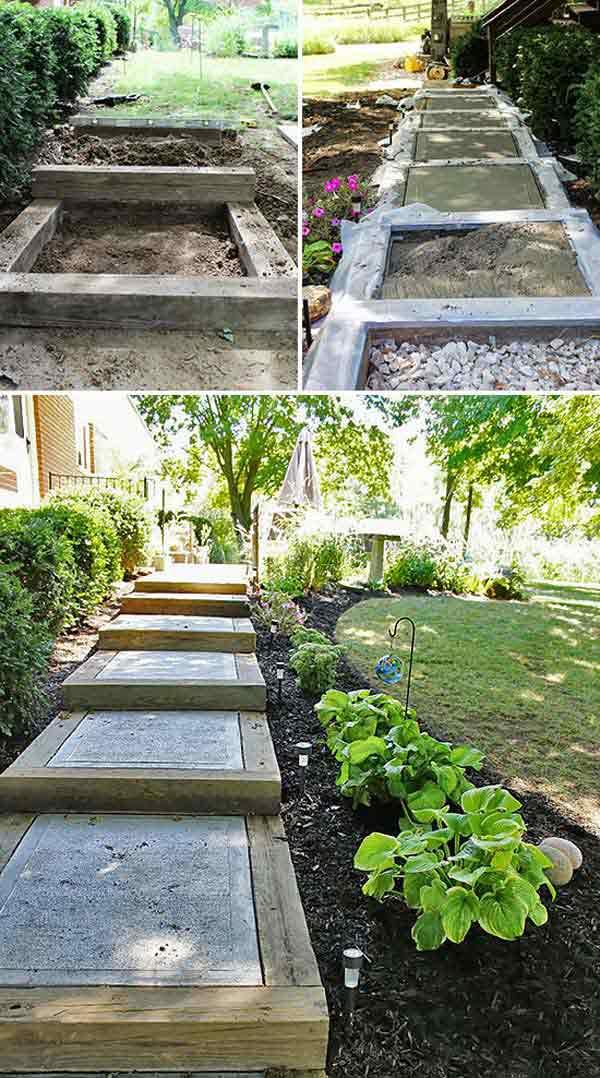 Scari gradina din lemn si ciment