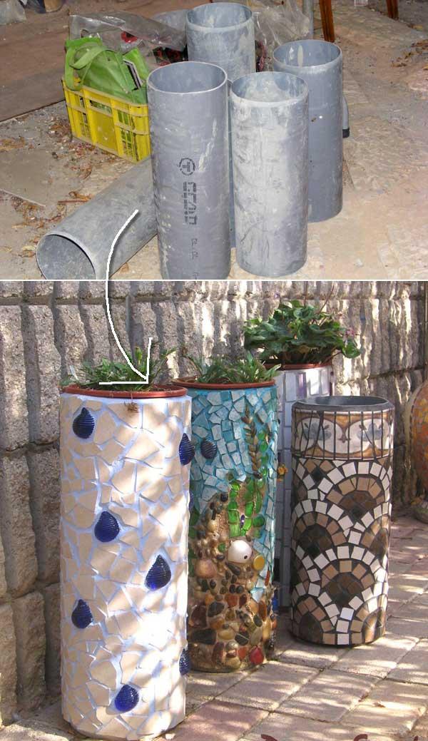 Supoorturi vase flori din tevi PVC
