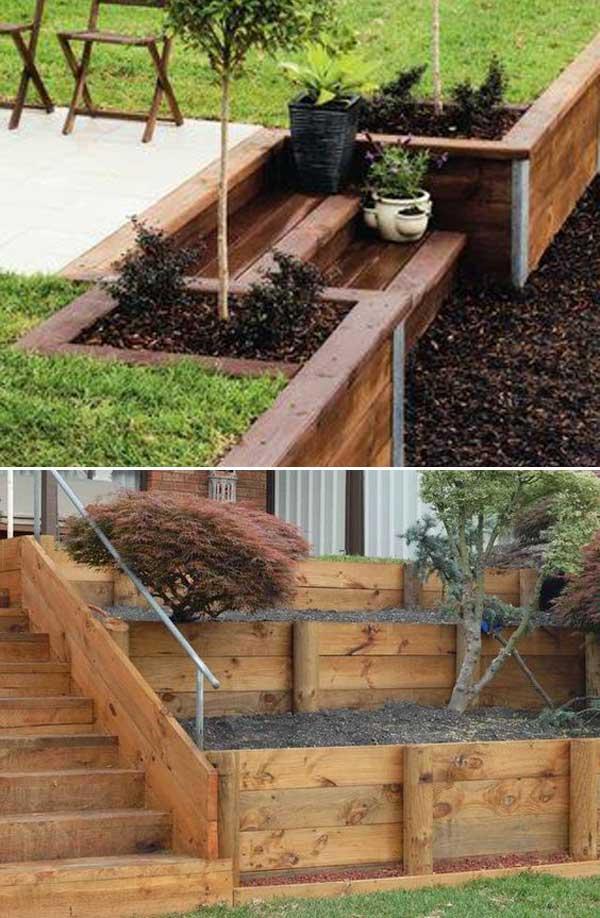 Zid de sprijin cu scari de lemn