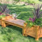 Banca din lemn cu jardiniere