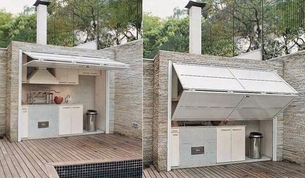 Bucatarie terasa cu usa basculanta