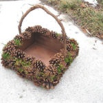 Cutie decorata cu conuri de brad