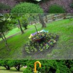 Decoratiune din umbrela si flori