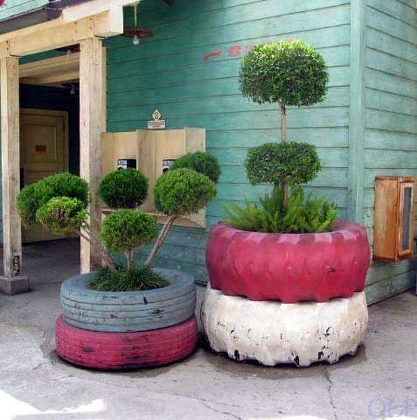 Suport arbusti din cauciucuri