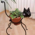 Suport de flori in forma de pisica