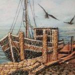 Tablou cu barca din pietre de rau