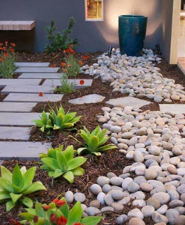 Amenajare gradina mica cu pietre de rau