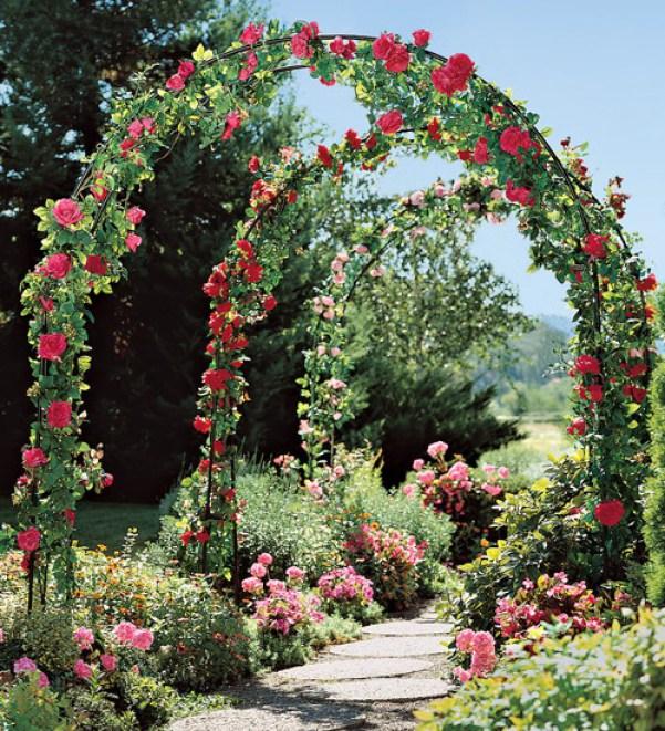 Arcade cu trandafiri rosii