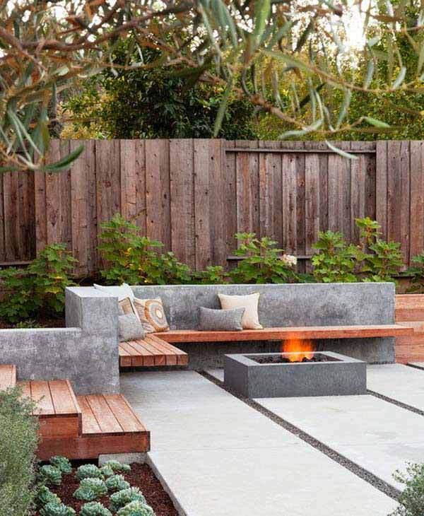 Banci din lemn si ciment in gradina