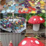 Ciuperci colorate din beton