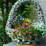Cos mare din piatra pentru flori