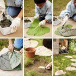 Dale din beton in forma de frunze