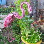 Flamingo din anvelope vechi