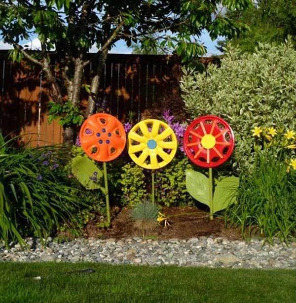 Flori colorate din capace de roti