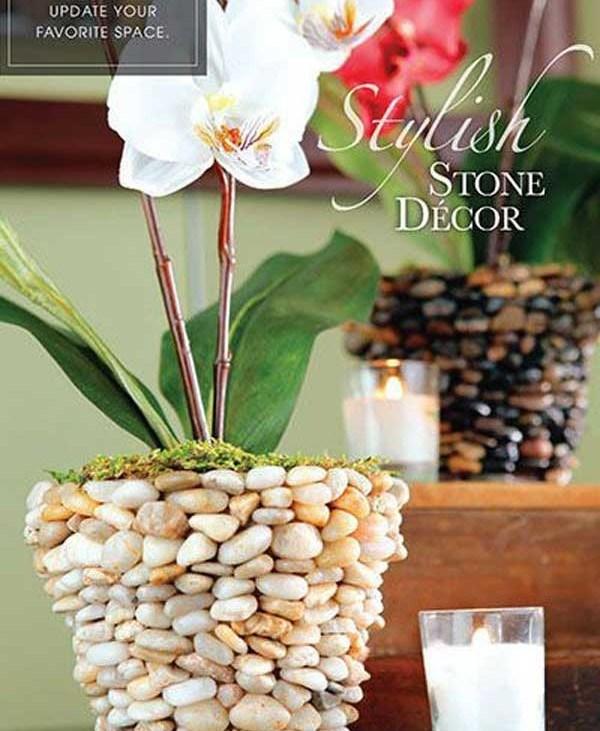 Ghivece placate cu pietre de rau