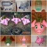 Ghiveci decorativ din bidon de plastic