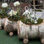 Jardiniera flori in forma de vagoane