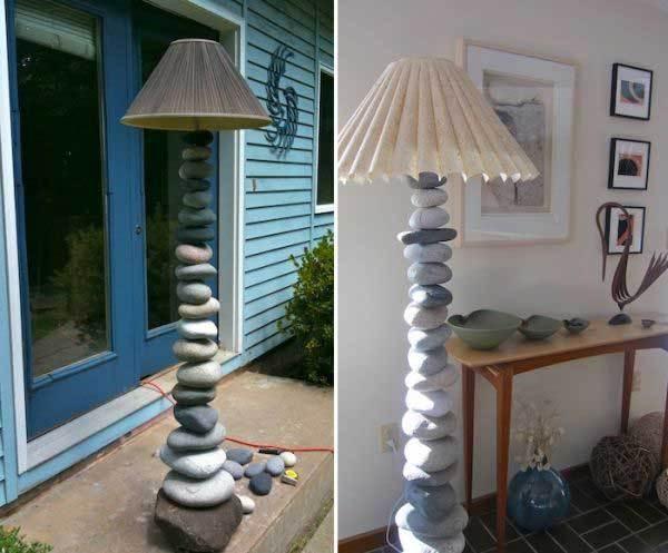 Lampa din pietre de rau