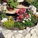 Strat de flori placat cu piatra de rau