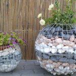 Ghivece flori din gabioane rotunde