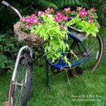 Bicicleta veche transformata in suport de ghivece
