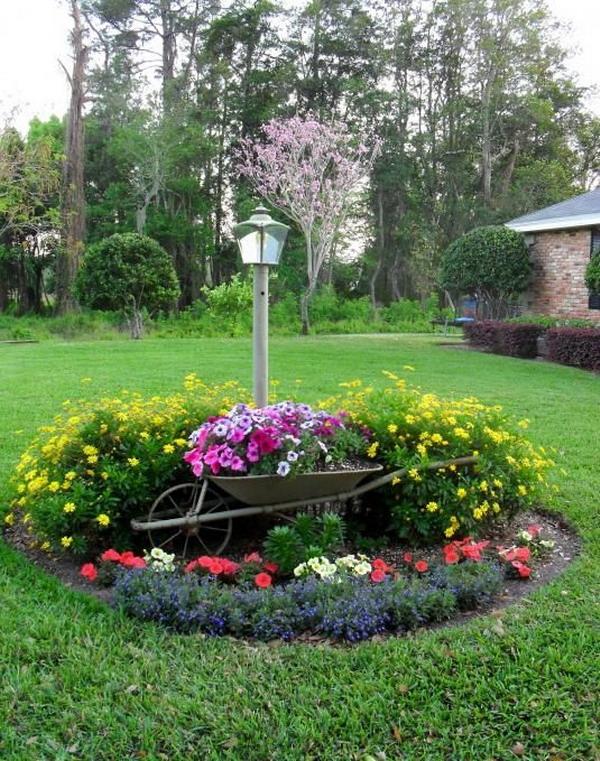 Rond cu flori cu roaba veche decorativa