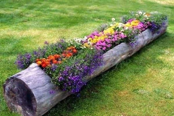 jardiniera din trunchi de copac