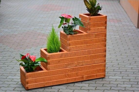 supot flori din lemn cu ghivece incluse